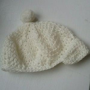 Cream hand knit baby hat